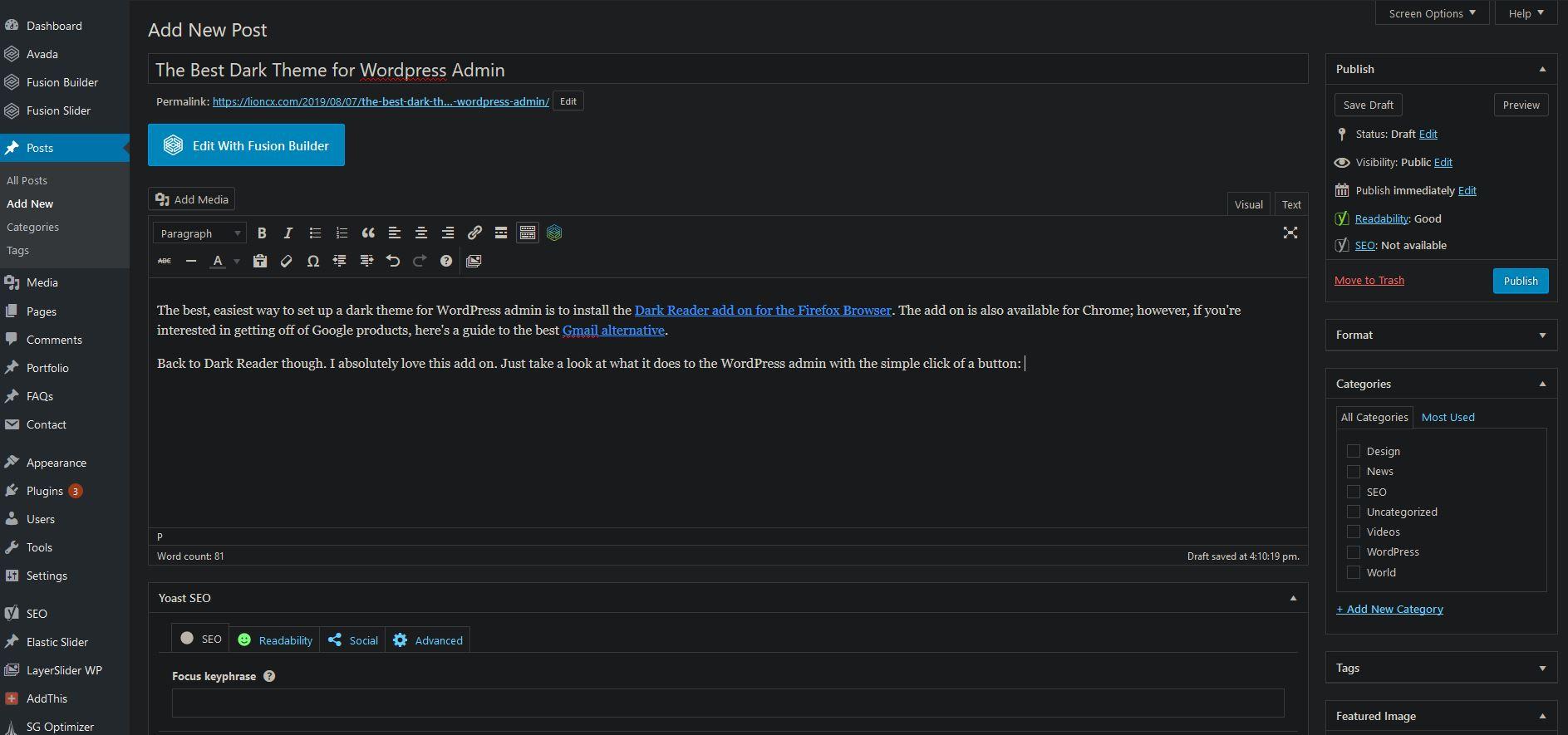 Dark Theme for WordPress Admin